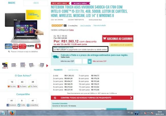Preço anunciado às 9h54, um minuto após a finalização da compra
